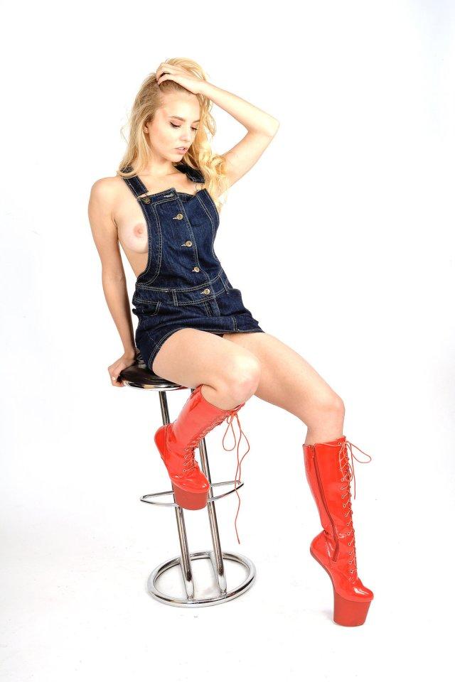 Heelless Red Boots